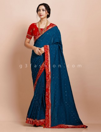 Solf muga silk blue traditional wear saree