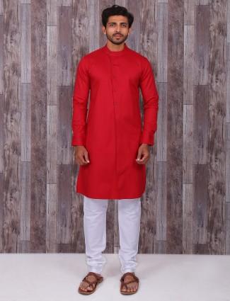 Solid alluring festive wear red kurta suit