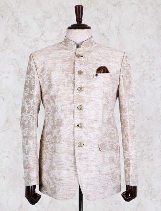 Solid beige colored jute jodhpuri blazer