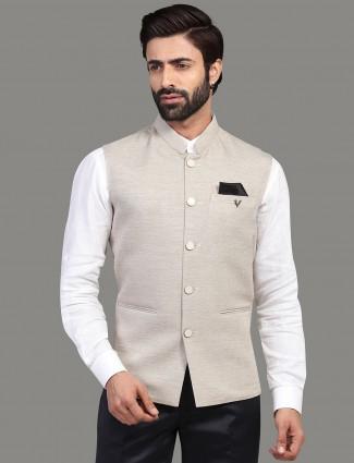Solid beige cotton silk waistcoat