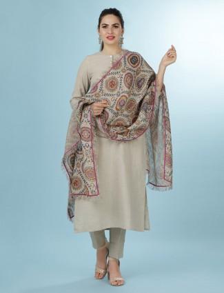 Solid beige linen festive wear punjabi pant suit