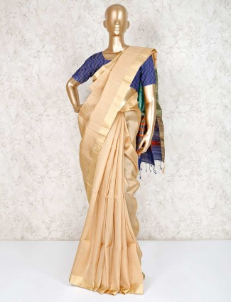 Solid beige reception wear pure south silk saree