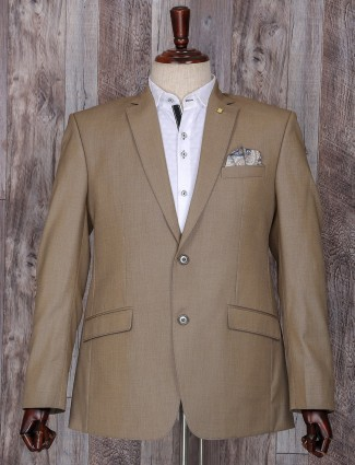 Solid beige terry rayon coat suit