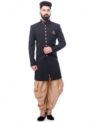Solid black and beige terry rayon indo western