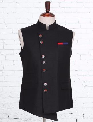 Solid black classy cotton linen waistcoat