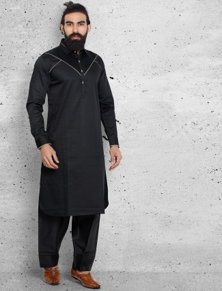 Solid black classy festive wear pathani suit