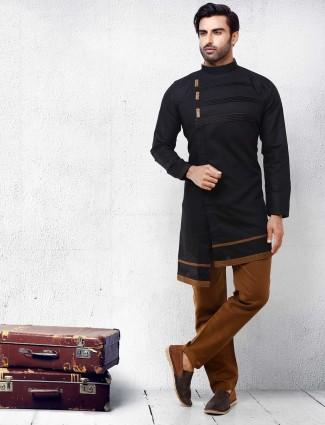 Solid black color cotton fabric kurta suit