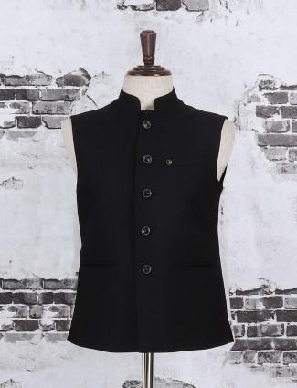 Solid black color cotton jute waistcoat