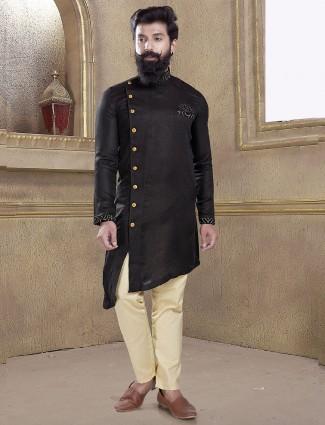 Solid black color cotton silk fabric kurta suit