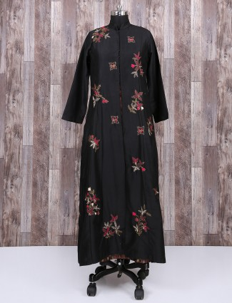 Solid black color cotton silk kurti