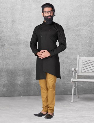 Solid black color kurta suit