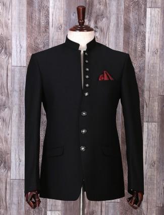 Solid black color party wear blazer