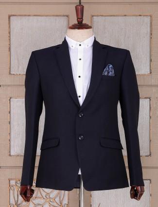 Solid black color partywear blazer