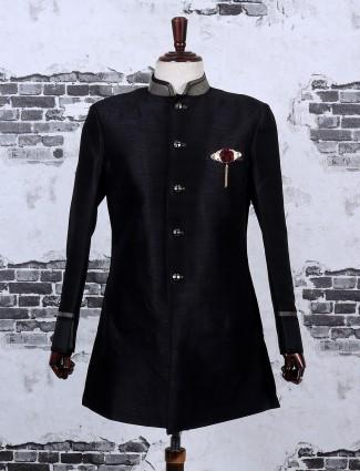 Solid black color semi indo western