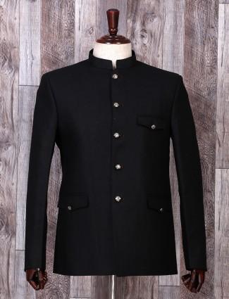 Solid black color terry rayon blazer
