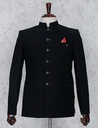 Solid black color terry rayon jodhpuri suit