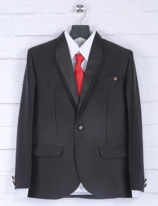 Solid black colored party wear coat suit