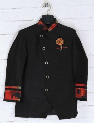 Solid black colored raw silk indo western