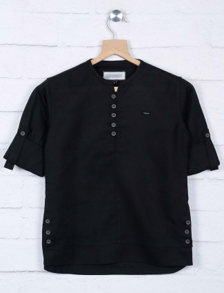 Solid black cotton fabric full sleeves shirt