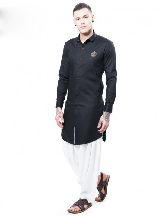 Solid black cotton festive wear kurta suit