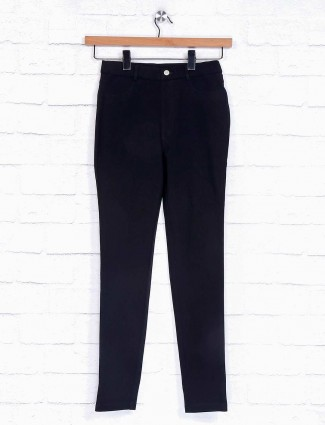 Solid black cotton jeggings