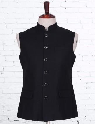 Solid black cotton linen waistcoat