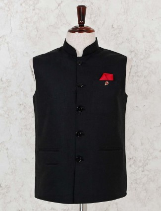 Solid black cotton party wear waistcoat