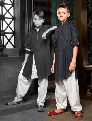 Solid black cotton pathani suit for boys