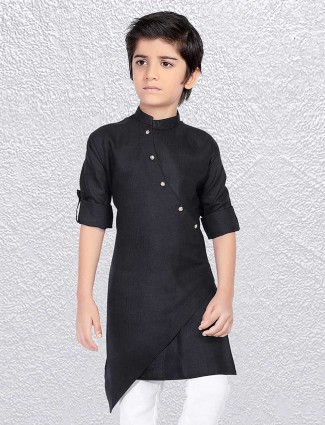 Solid black cotton short kurta