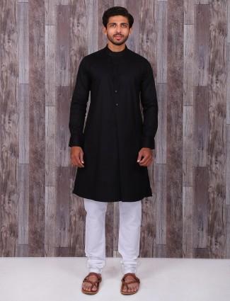 Solid black cotton silk festive wear kurta suit