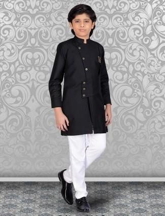 Solid black cotton stand collar kurta suit