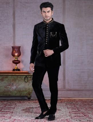 Solid black designer velvet jodhpuri suit