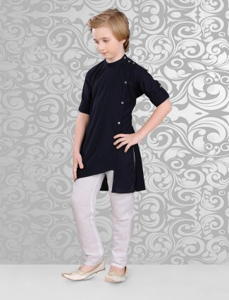 Solid black dressy cotton festive wear kurta suit
