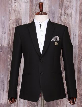 Solid black dressy terry rayon blazer