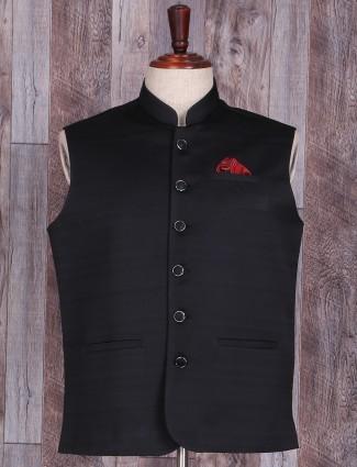 Solid black dressy terry rayon waistcoat