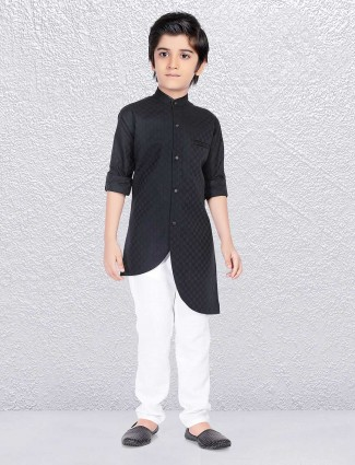 Solid black festive wear kurta suit