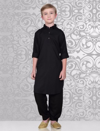 Solid black festive wear pathani suit