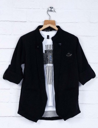 Solid black hue cotton blazer