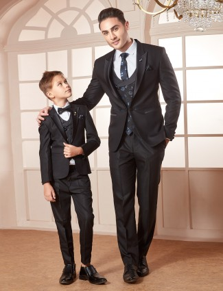 Solid black hue terry rayon fabric father son coat suit
