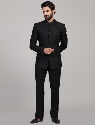 Solid black jodhpuri coat suit for mens