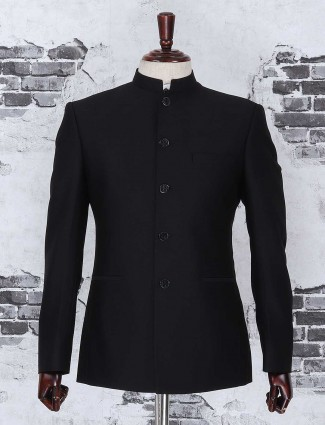 Solid black jodhpuri suit