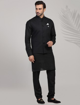 Solid black linen waistcoat set