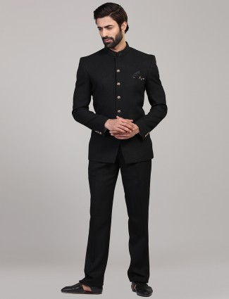 Solid black mens jodhpuri suit