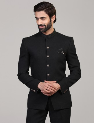 Solid black mens terry rayon jodhpuri blazer
