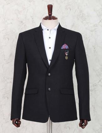 Solid black party function blazer