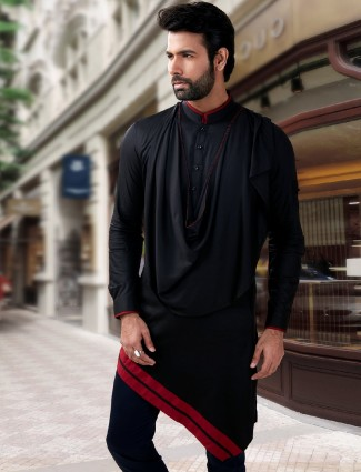 Solid black silk designer short pathani