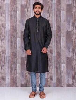 Solid black silk kurta suit