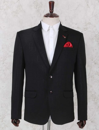 Solid black terry rayon blazer