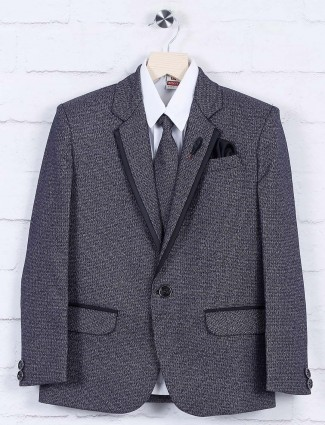 Solid black terry rayon fabric coat suit