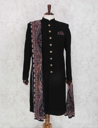Solid black terry rayon indo western for mens
